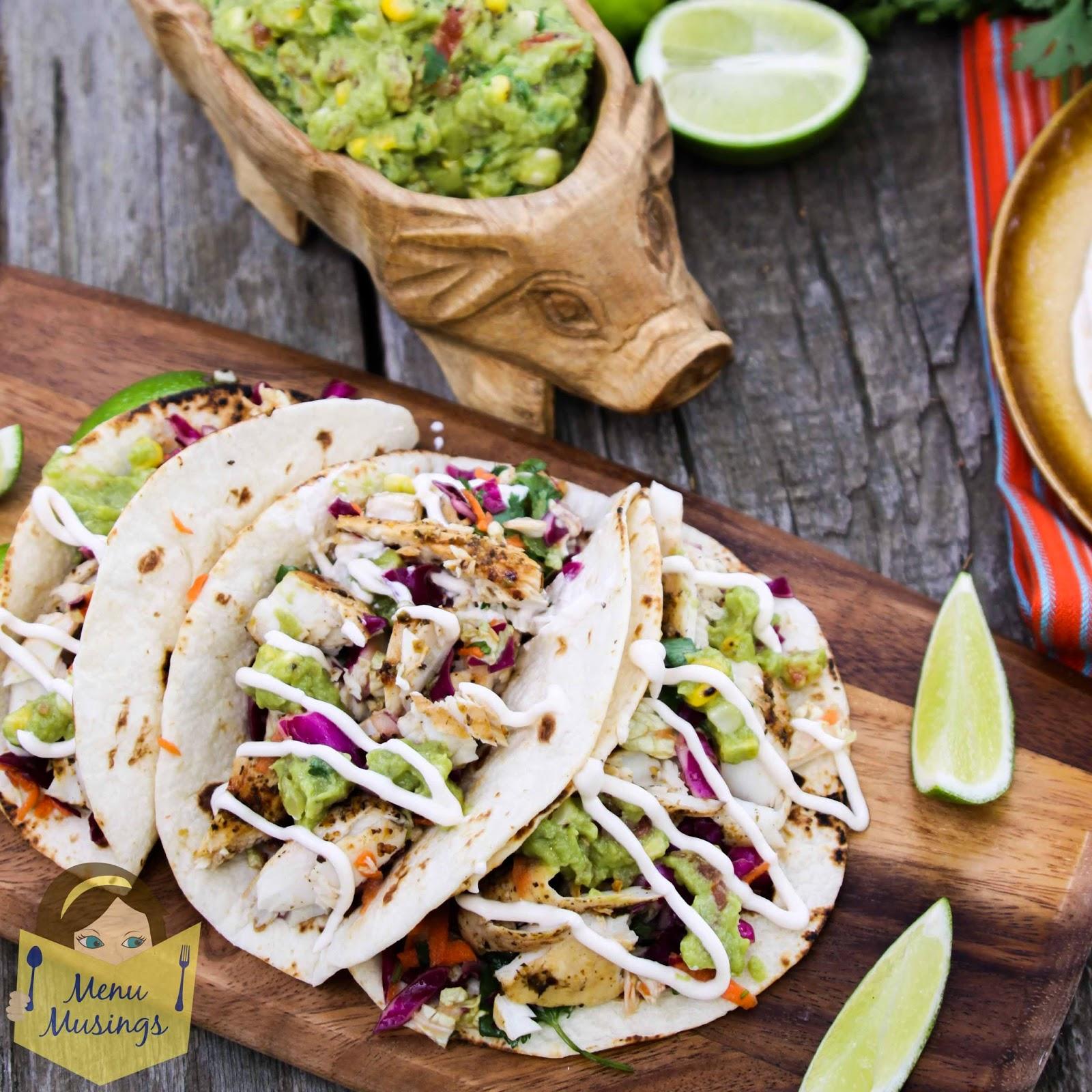 Mojito Lime Mahi Mahi Tacos with Citrus Dressed Southwestern Slaw @ menumusings.com