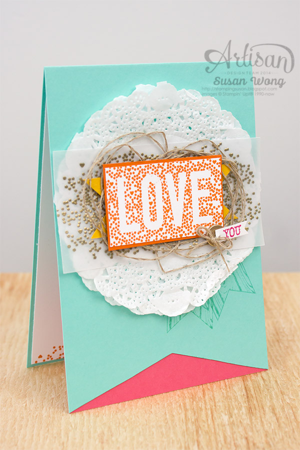 Seasonally Scattered 'Love You' card ~ Susan Wong