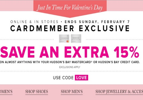 Hudson's Bay Extra 15% Off Cardmember Exclusive Promo Code