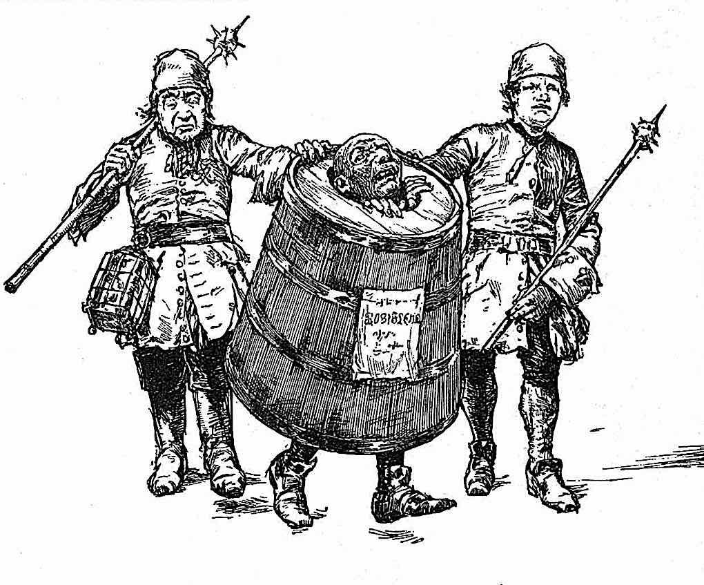 a Hans Tegner illustration of gurads and a prisoner in a barrel, legal public shaming