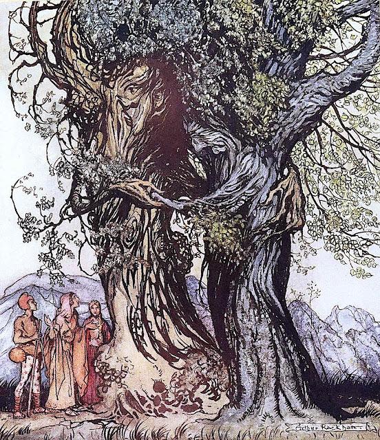 an Arthur Rackham 1922 illustration of a loving old tree couple