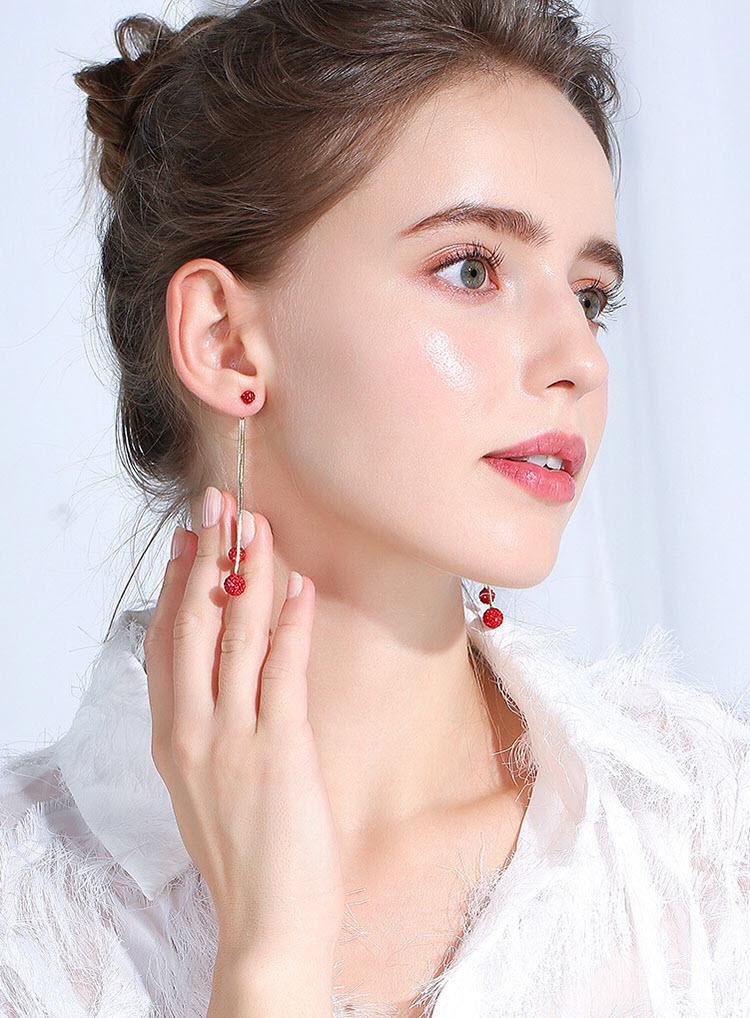 閃亮水晶香巴拉流蘇耳環