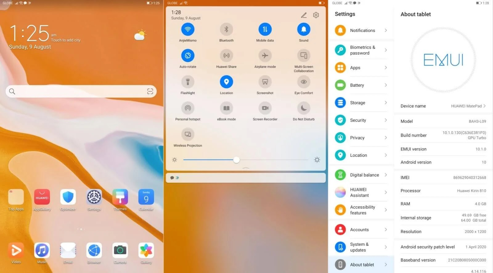 Huawei MatePad Software EMUI 10.1 Based On Android 10