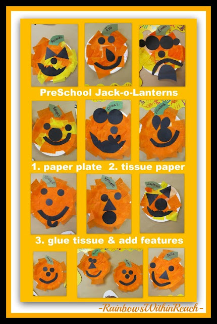 photo of: Paper Plates Make Fall Jack-o-Lanterns in Preschool with Tissue Paper (Fall RoundUP via RainbowsWithinReach)