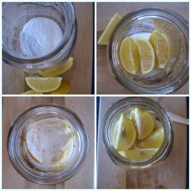 Pack the lemons and salt in a jar
