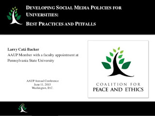 http://www.slideshare.net/LarryCatBacker/developing-social-media-policies-for-universities-best-practices-and-pitfalls