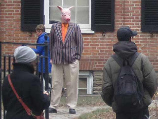 Man Dressed Like A Pig At The Campbell House in Toronto
