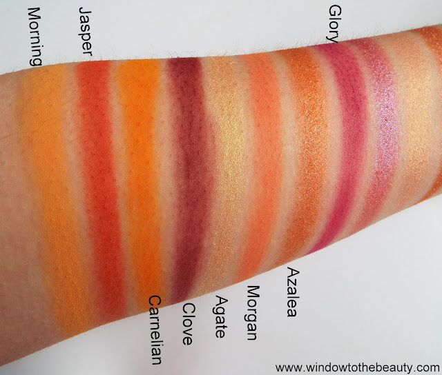 Sunrise palette swatches