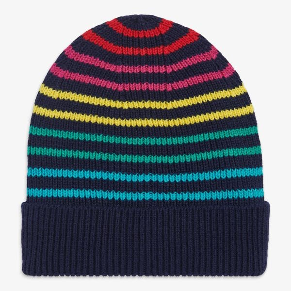 rainbow striped beanie hat for kids from Primary