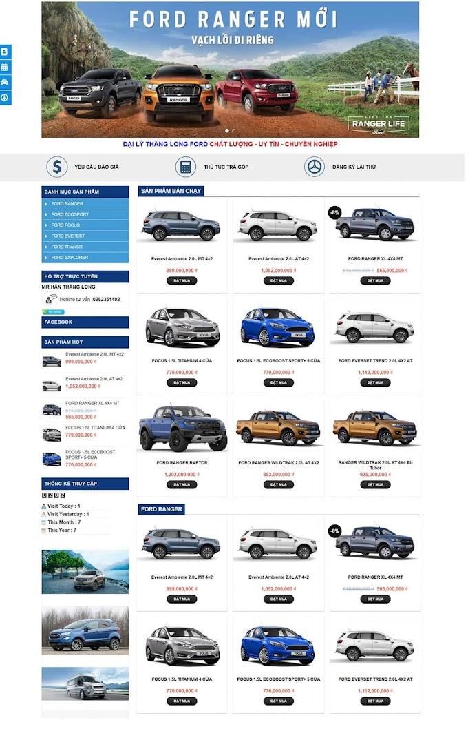 Mẫu website bán xe hơi