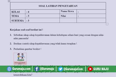 Soal UH / PH Kelas 4 Tema 5 Kurikulum 2013 Revisi Tahun 2019