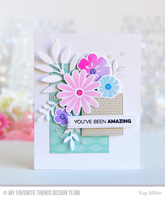 Amazing Floral Card by Kay Miller featuring the Amazing stamp set, the Large Desert stamp and Die-namics, the Winter Waves and Mini Hexagon background stamps, and the Inside & Out Stitched Rectangle STAX, the Inside & Out Stitched Square STAX, Leafy Greenery and Blueprints 2 Die-namics #mftstamps
