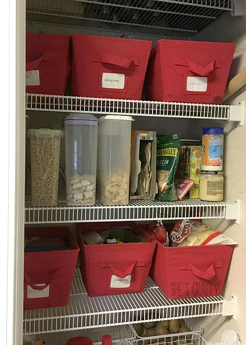 organizing pantry, bins, boxes, clean up pantry