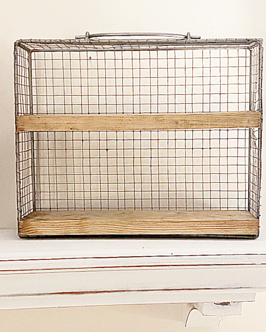 Wire drawer with stained shelves