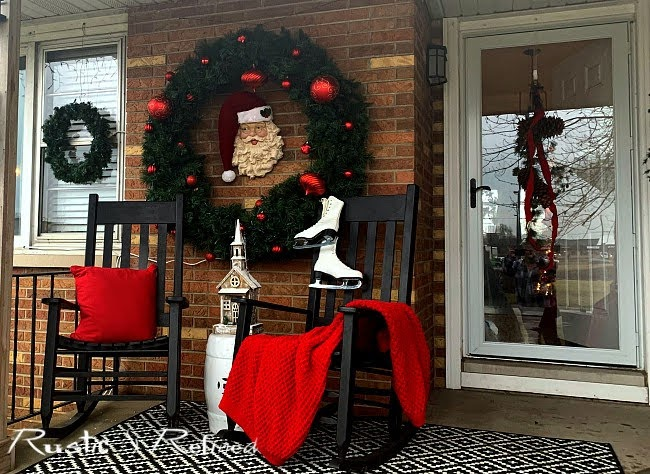 Decorating the front porch for Christmas with budget decor hacks
