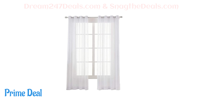 60% OFF  Dreaming Casa Solid Sheer Curtains Draperies White Grommet Top Two Panels 52 W x 84