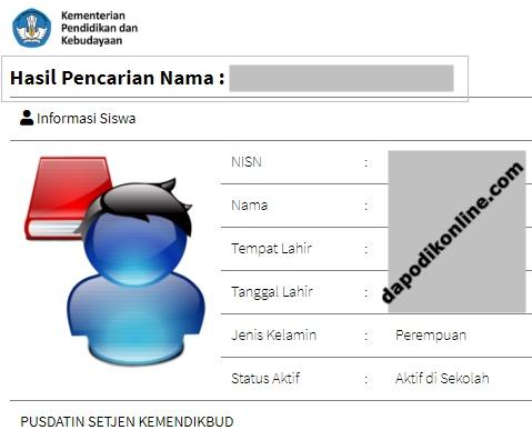Hasil Pencarian NISN Berdasarkan Nama