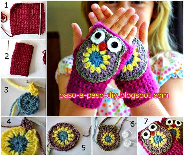 Cómo tejer mitones de búho al crochet para niños | Paso a Paso