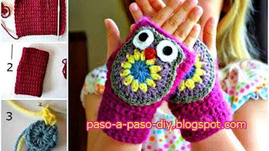 Cómo tejer mitones de búho al crochet para niños
