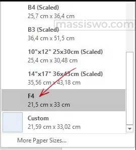 Ukuran Kertas HVS F4 di Word
