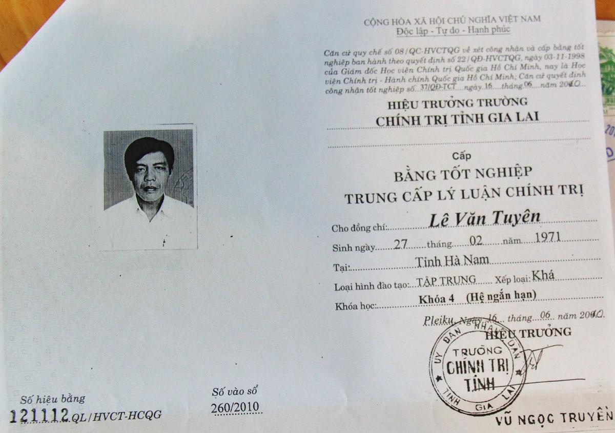 Gia Lai: Phó bí thư xã dùng bằng giả bị cách chức