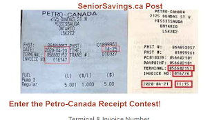 Sample Petro-Canada Receipt with required information highlighted