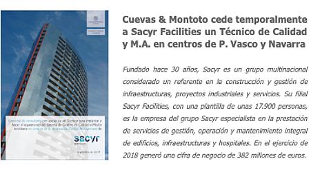 Cuevas y Montoto cede temporalmente a Sacyr Facilities un Técnico de Calidad y M.A. en centros de P. Vasco  y Navarra