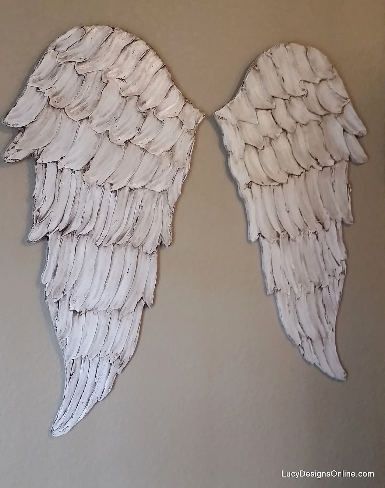 large wood angel wings in distressed white