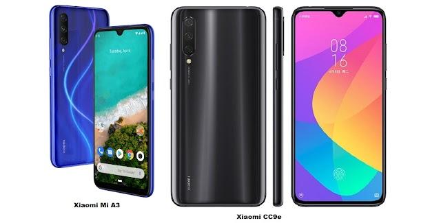 Xiaomi Mi CC9e Vs Xiaomi Mi A3 Specs Comparison