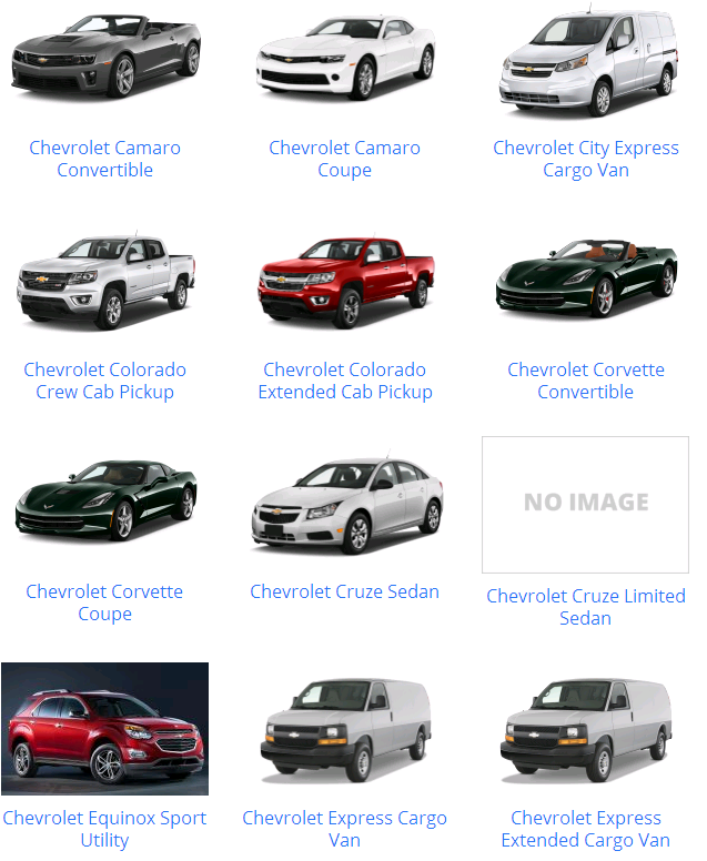 Các dòng xe Chevrolet & mẫu xe Chevrolet từ trước đến nay