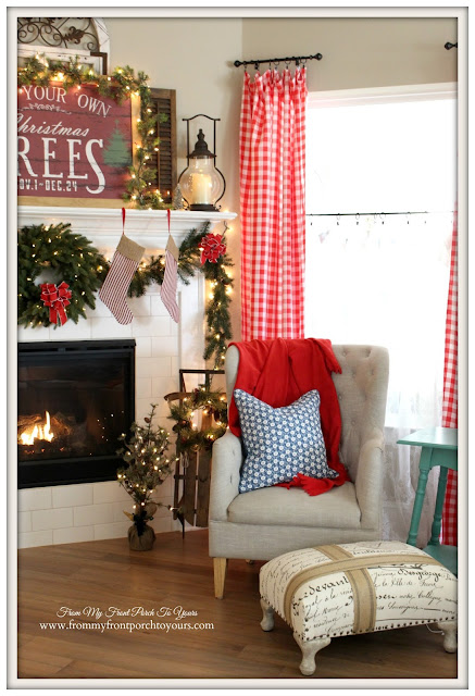Farmhouse Christmas Mantel-Vintage Sled-Red Check Curtains-French Farmhouse- From My Front Porch To Yours