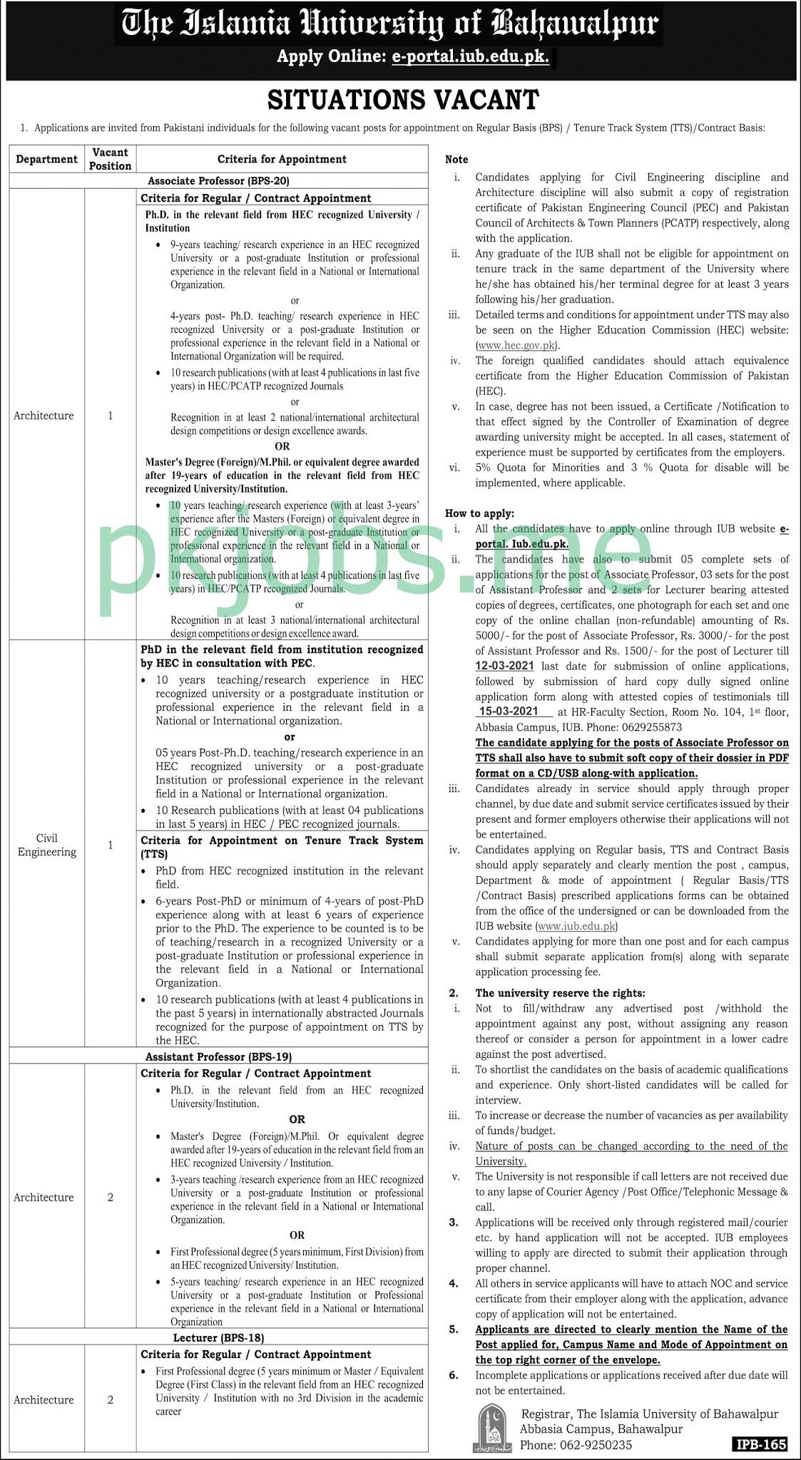 Latest The Islamia University of Bahawalpur Posts 2021