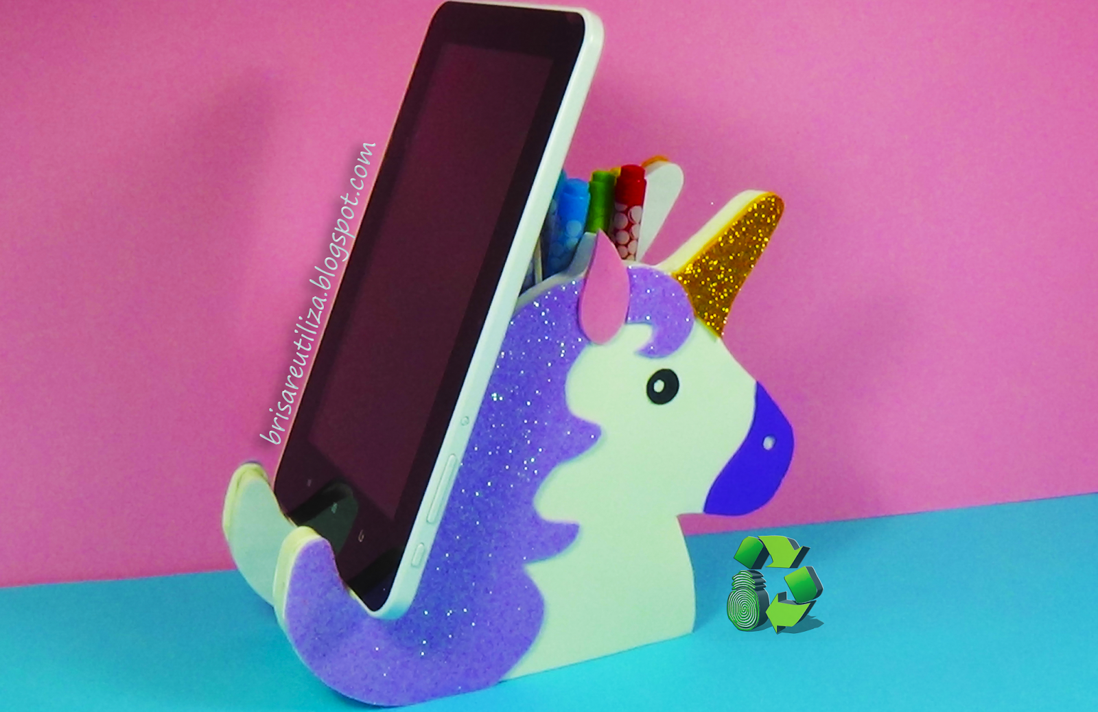 Ecobrisa diy unicornio kawaii lapicero y soporte para for Soporte para movil mesa
