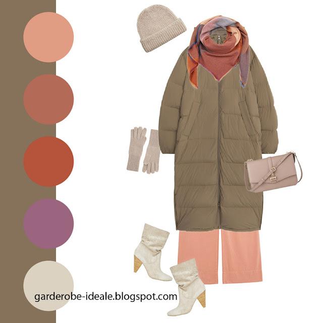 Сочетание серо-коричневого пуховика с розовыми брюками и сиреневым шарфом