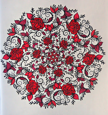 Roses mandala in black and red