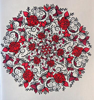 Roses mandala in black and red