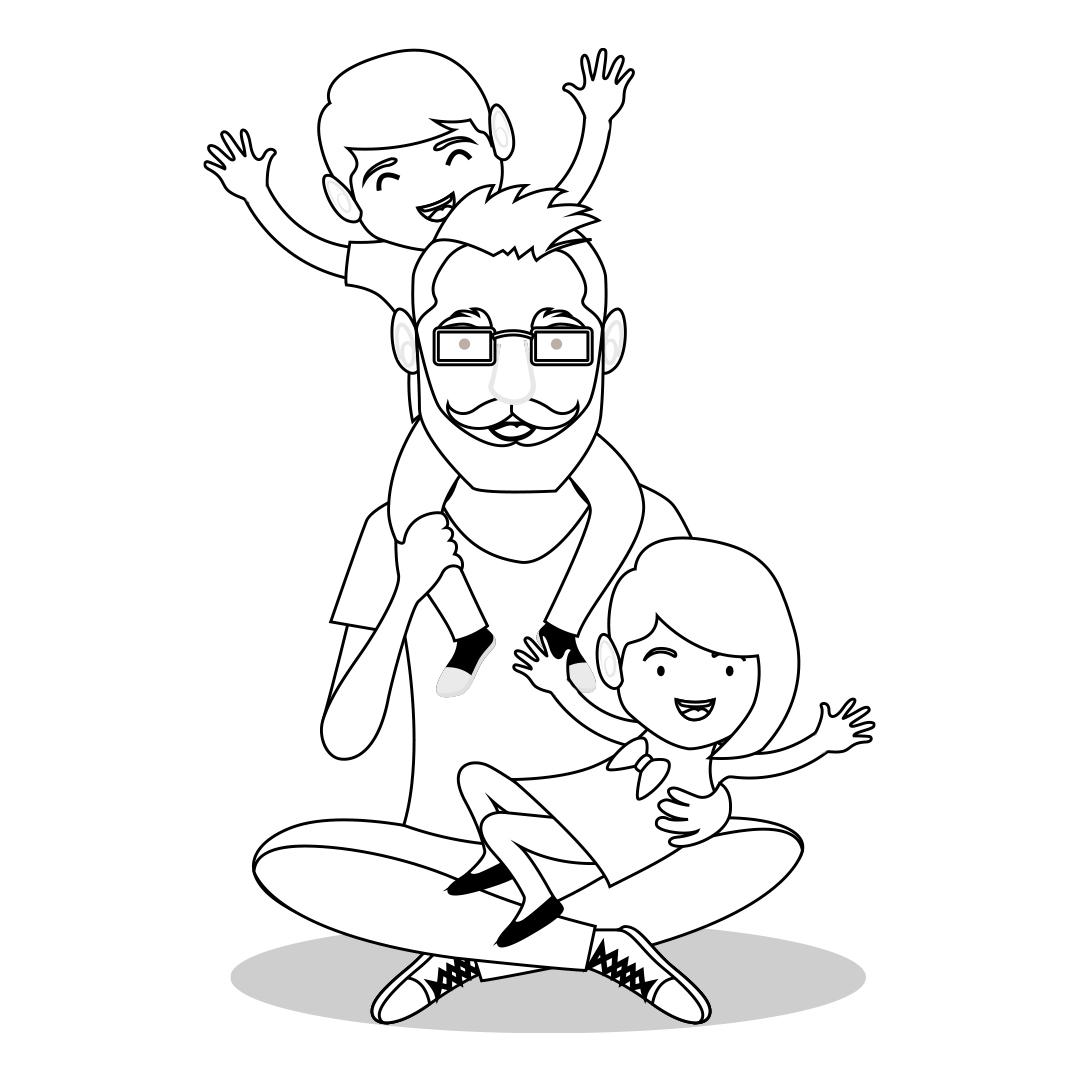 Desenho de pai com filhos para colorir