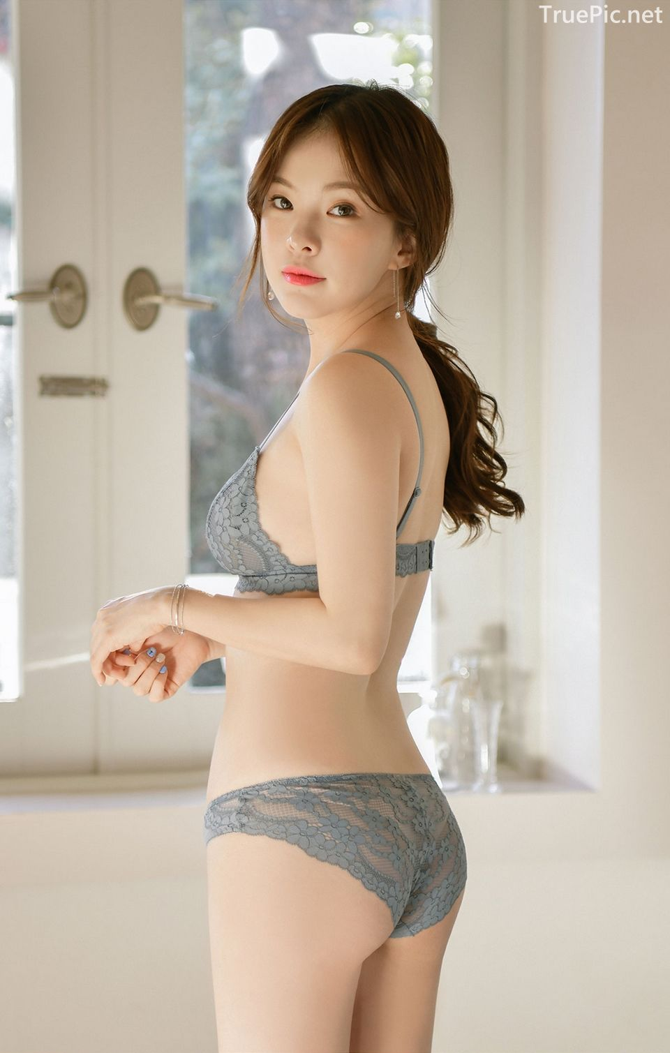 Korean model and fashion - Lingerie queen Haneul - Gray blue Lingerie set - Picture 5