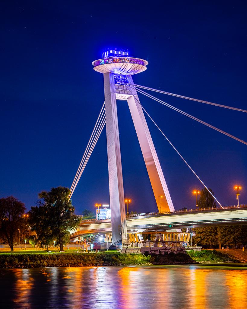 a photo of the ufo bridge restaurant bratislava slovakia