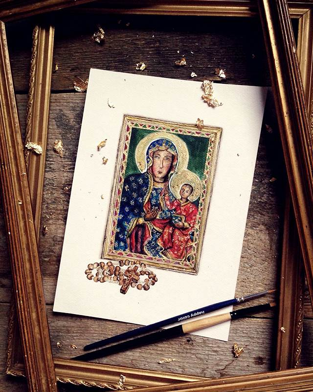 ilustracja do książki (Matka Boska Częstochowska)