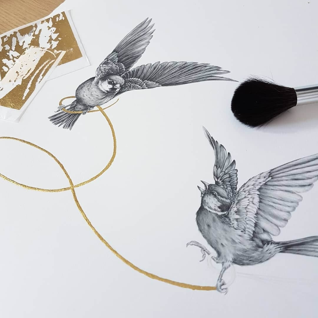 03-Birds-and-a-Gold-Thread-Kerry-Jane-Detailed-Black-and-White-Wildlife-Drawings-www-designstack-co