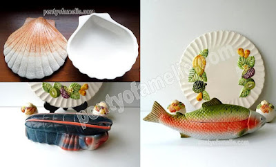 Unique Majolica Breton Blue Lobster Terrine Dish, Scallop Shell Jewel Box, Salmon Head Tureen, all signed Michel Caugant, Portuguese Pottery.