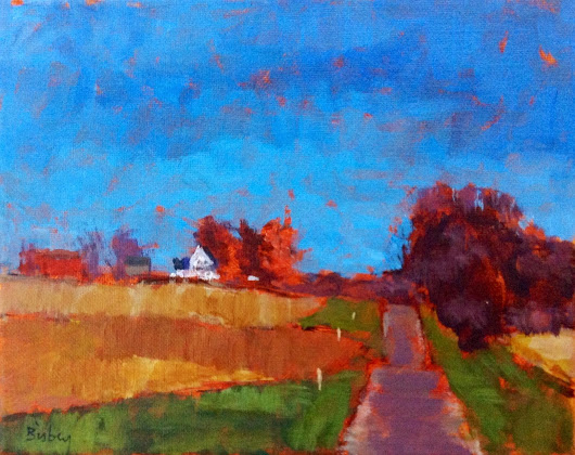 BRAD BISBEY: A Road in the Country. 8x10 acrylic on canvas.