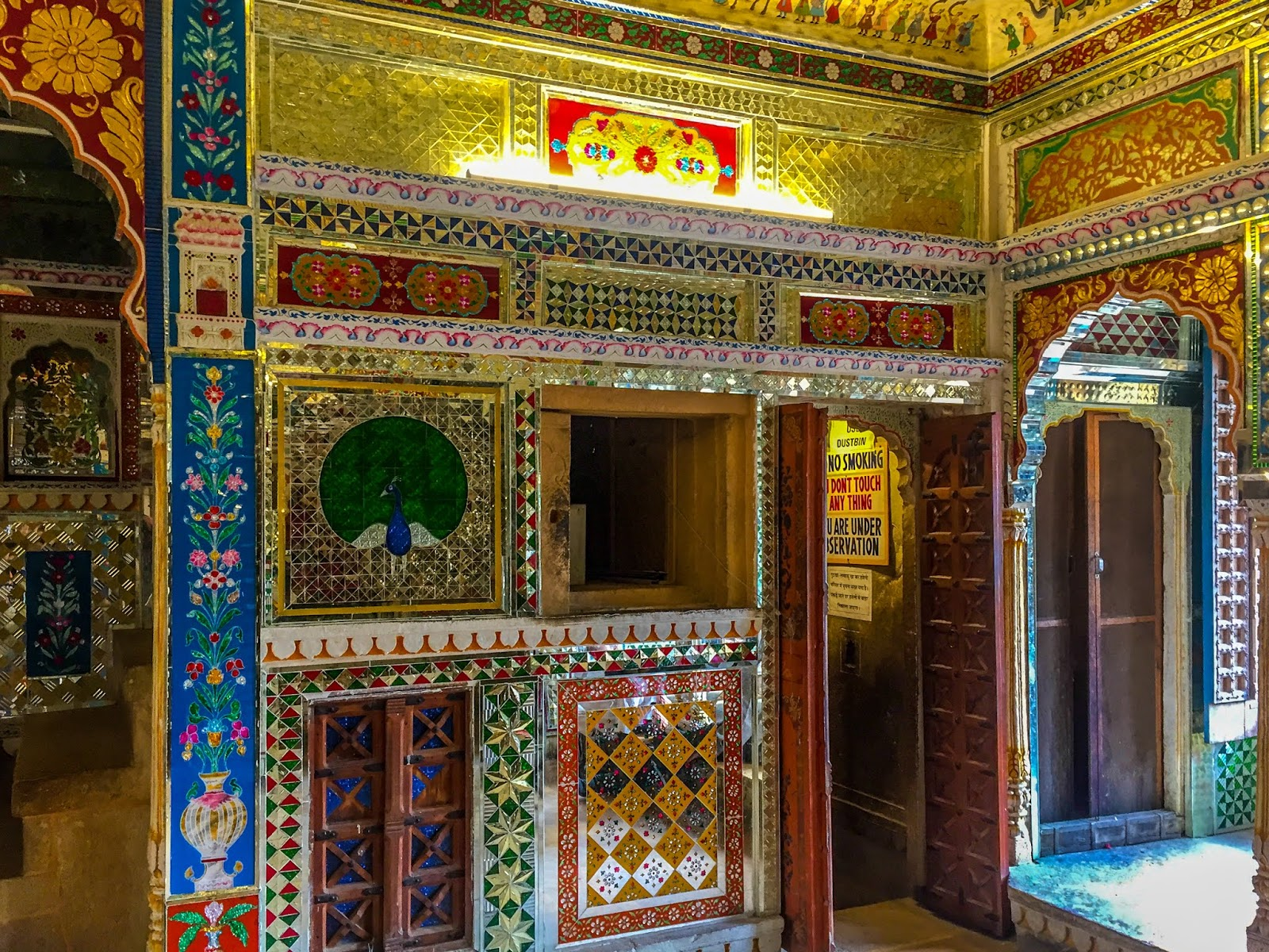 Beautiful mirror work welcomes you, when you enter the Haveli