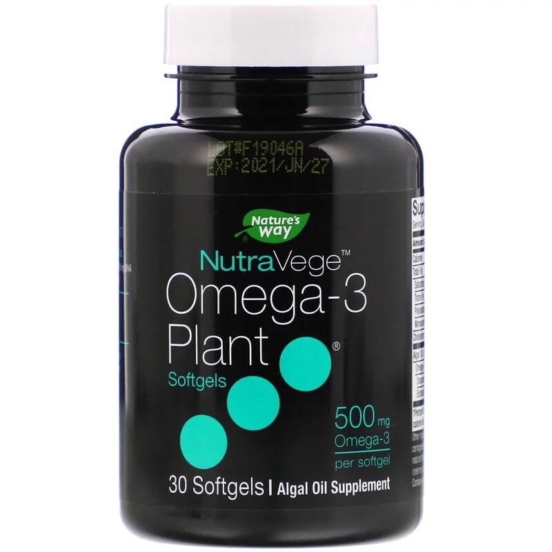 Ascenta, NutraVege, растительная Омега-3, 500 мг, 30 мягких таблеток