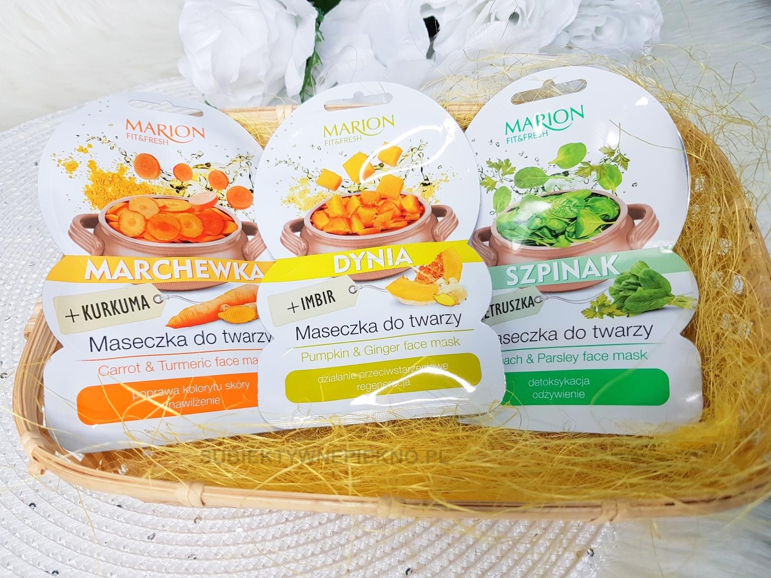 Warzywne maseczki do twarzy Marion - szpinak z pietruszką, marchewka z kurkumą i dynia z imbirem