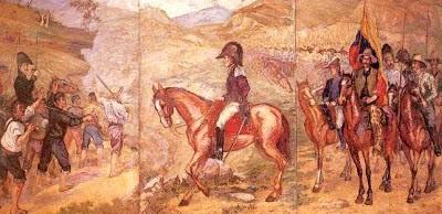 Imagen al inicio de la Batalla de Boyacá a color