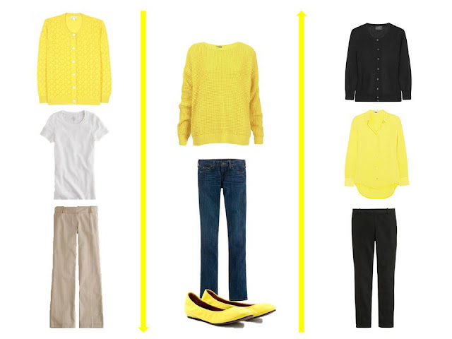lemon yellow as a wardrobe accent color in 3 outfits