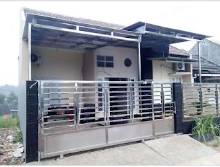 pagar stenlis minimalis terbaru dengan gerbang dorong