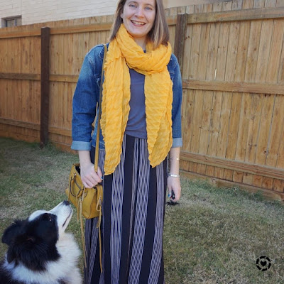 awayfromblue Instagram vertical striped maxi skirt with grey tee mustard yellow accessories matching scarf and bag